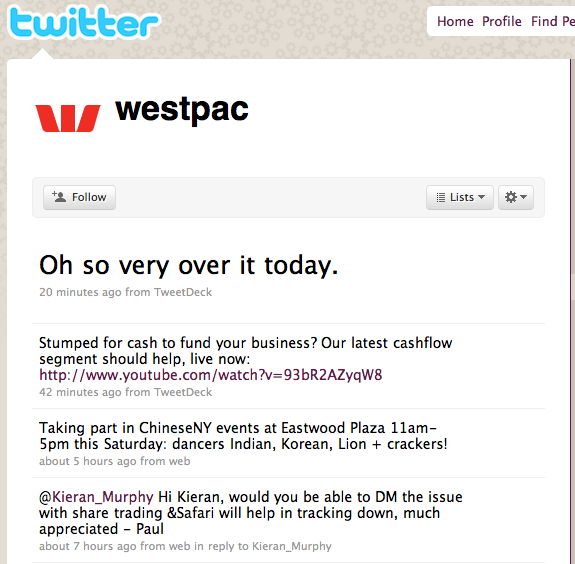 """Oh so very over it today"" — tweeted by @westpac 20 minutes ago."