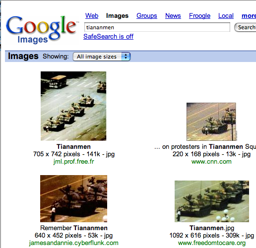 A search for 'tiananmen' returns a page of imagery from the crackdown after the pro-democracy protests of 1989