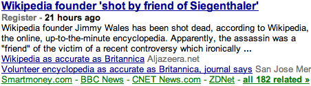 Headline 1: Wikipedia founder shot, according to Wikipedia. Headline 2: Wikipedia as accurate as Brittanica