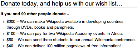 If you and 99 other people donate .. $200 – We can make Wikipedia available in developing countries through DVDs, books and pamphlets. $100 – We can pay for two Wikipedia Academy events in Africa. $60 – We can send three students to our annual Wikimania conference. $40 – We can deliver 100 million pageviews of free information!